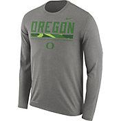Nike Men's Oregon Ducks Grey Football Sideline Staff Legend Long Sleeve Shirt