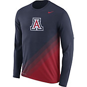 Nike Men's Arizona Wildcats Navy/Cardinal Football Sideline Dri-FIT Long Sleeve Shirt
