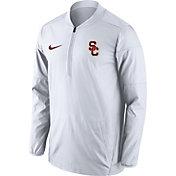Nike Men's USC Trojans Lockdown Sideline White Half-Zip Jacket