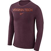 Nike Men's Virginia Tech Hokies Maroon Marled Dri-FIT Long Sleeve Shirt