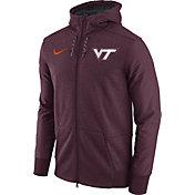 Nike Men's Virginia Tech Hokies Heathered Maroon Football Travel Full-Zip Hoodie