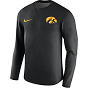 Nike Men's Iowa Hawkeyes Black Modern Football Sideline Crew Long Sleeve Shirt