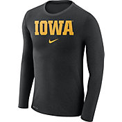 Nike Men's Iowa Hawkeyes Black Marled Dri-FIT Long Sleeve Shirt
