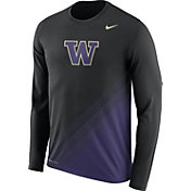 Nike Men's Washington Huskies Black/Purple Football Sideline Dri-FIT Long Sleeve Shirt