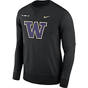 Nike Men's Washington Huskies Black Therma-FIT Crew Football Sideline Sweatshirt