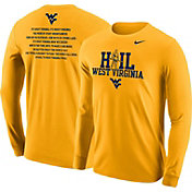 Nike Men's West Virginia Mountaineers Gold 'Hail West Virginia' 2017 Fan Long Sleeve Shirt