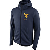 Nike Men's West Virginia Mountaineers Blue Therma-FIT Full-Zip Elite Basketball Hoodie