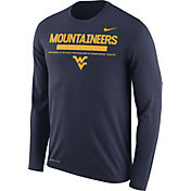 Nike Men's West Virginia Mountaineers Blue Football Sideline Staff Legend Long Sleeve Shirt