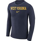 Nike Men's West Virginia Mountaineers Blue Marled Dri-FIT Long Sleeve Shirt