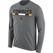 Nike Men's Wyoming Cowboys Grey Football Sideline Staff Legend Long Sleeve Shirt
