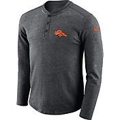 Nike Men's Denver Broncos Henley Charcoal Long Sleeve Shirt