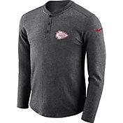 Nike Men's Kansas City Chiefs Henley Charcoal Long Sleeve Shirt