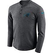 Nike Men's Carolina Panthers Henley Charcoal Long Sleeve Shirt