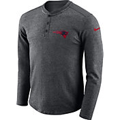 Nike Men's New England Patriots Henley Charcoal Long Sleeve Shirt