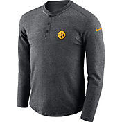 Nike Men's Pittsburgh Steelers Henley Charcoal Long Sleeve Shirt