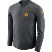 Nike Men's Pittsburgh Steelers Henley Charcoal Long Sleeve Shirt