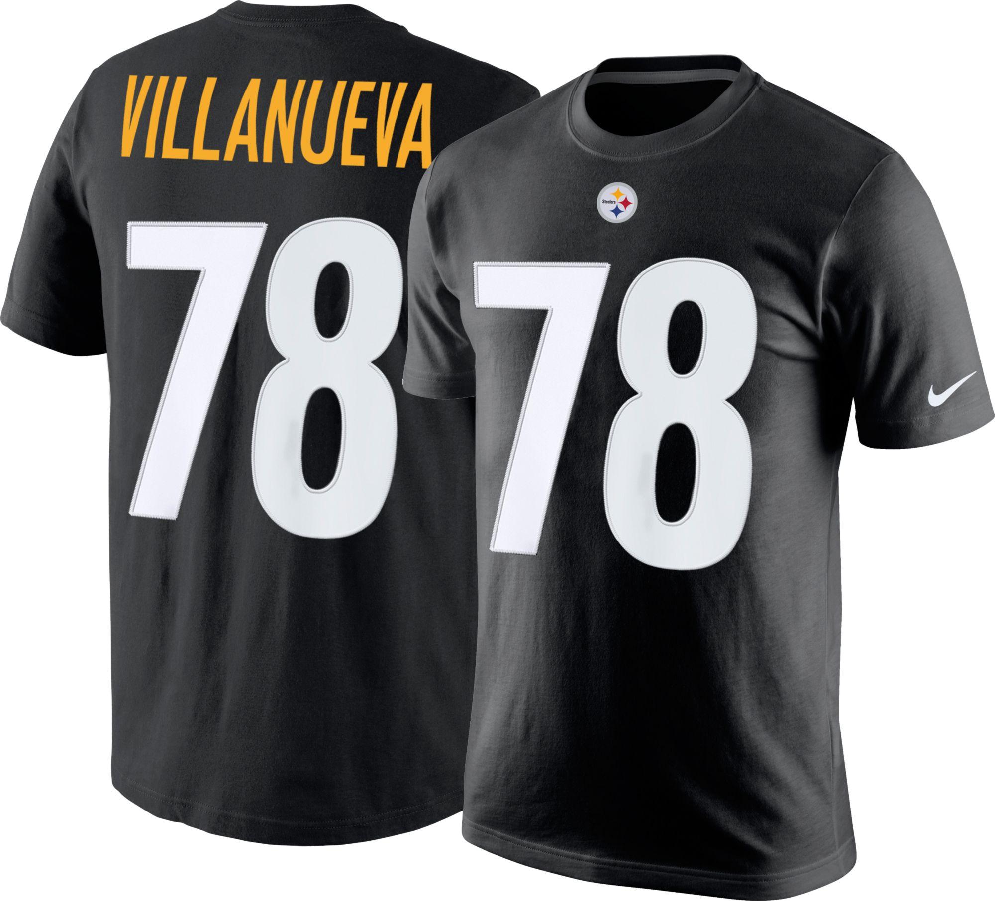 33871b4ae1b ... Nike Mens Pittsburgh Steelers Alejandro Villanueva 78 Pride Black T- Shirt. 000 000.