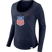 Nike Women's USA Hockey Tri-Blend Navy Heathered Scoop Neck Long Sleeve Shirt