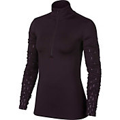 Nike Women's Pro Hyperwarm Linear Rain Printed Long Sleeve 1/2 Zip Shirt