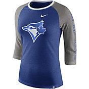 Nike Women's Toronto Blue Jays Raglan Tri-Blend Three-Quarter Sleeve Shirt