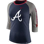 Nike Women's Atlanta Braves Raglan Tri-Blend Three-Quarter Sleeve Shirt