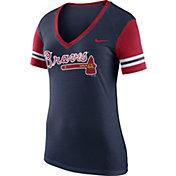 Nike Women's Atlanta Braves Fan Navy V-Neck Shirt