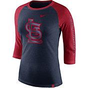 Nike Women's St. Louis Cardinals Raglan Tri-Blend Three-Quarter Sleeve Shirt