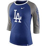 Nike Women's Los Angeles Dodgers Raglan Tri-Blend Three-Quarter Sleeve Shirt