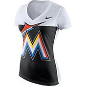 Nike Women's Miami Marlins White/Black Tri-Blend V-Neck T-Shirt