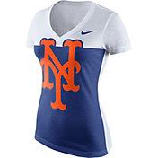 Nike Women's New York Mets White/Black Tri-Blend V-Neck T-Shirt