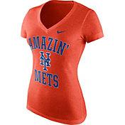 """Nike Women's New York Mets """"Amazin' Mets"""" Tri-Blend Orange V-Neck T-Shirt"""