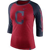Nike Women's Cleveland Indians Raglan Tri-Blend Three-Quarter Sleeve Shirt