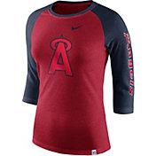 Nike Women's Los Angeles Angels Raglan Tri-Blend Three-Quarter Sleeve Shirt