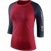 Nike Women's Washington Nationals Raglan Tri-Blend Three-Quarter Sleeve Shirt