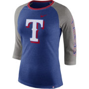Nike Women's Texas Rangers Raglan Tri-Blend Three-Quarter Sleeve Shirt