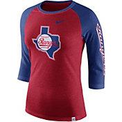 Nike Women's Texas Rangers Raglan Tri-Blend Three-Quarter Sleeve Shirt