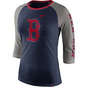 Nike Women's Boston Red Sox Raglan Tri-Blend Three-Quarter Sleeve Shirt