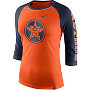 Nike Women's Houston Astros Raglan Tri-Blend Three-Quarter Sleeve Shirt