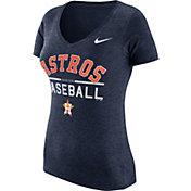 Nike Women's Houston Astros Practice Navy Tri-Blend V-Neck T-Shirt