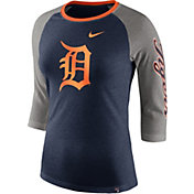 Nike Women's Detroit Tigers Raglan Tri-Blend Three-Quarter Sleeve Shirt