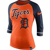 Nike Women's Detroit Tigers Orange/Navy Raglan Three-Quarter Sleeve Shirt