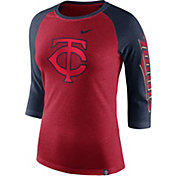 Nike Women's Minnesota Twins Raglan Tri-Blend Three-Quarter Sleeve Shirt