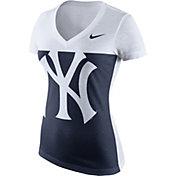 Nike Women's New York Yankees Navy/White Tri-Blend V-Neck T-Shirt
