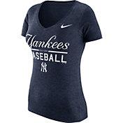 Nike Women's New York Yankees Practice Navy Tri-Blend V-Neck T-Shirt