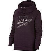 Nike Women's Sportswear Rally Metallic Funnel Neck Graphic Hoodie