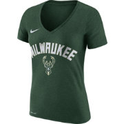 Nike Women's Milwaukee Bucks Dri-FIT Green Wordmark V-Neck T-Shirt