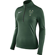 Nike Women's Milwaukee Bucks Dri-FIT Green Element Half-Zip Pullover
