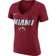 Nike Women's Miami Heat Dri-FIT Red Wordmark V-Neck T-Shirt