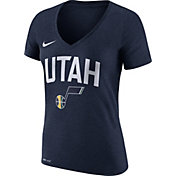 Nike Women's Utah Jazz Dri-FIT Navy Wordmark V-Neck T-Shirt