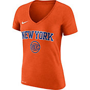 Nike Women's New York Knicks Dri-FIT Orange Wordmark V-Neck T-Shirt